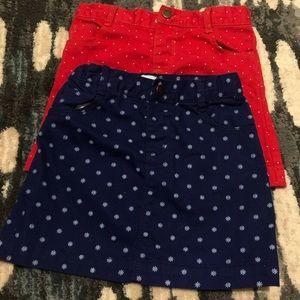 2 old navy girl denim skirts 5t